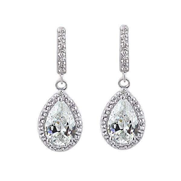 Glitzy Rocks Sterling Silver Birthstone Teardrop Dangle Earrings