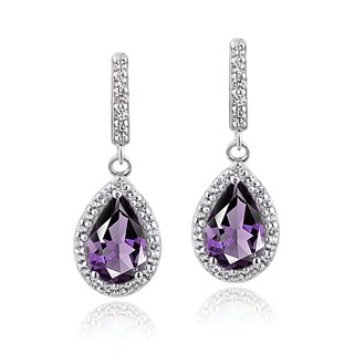 Glitzy Rocks Sterling Silver Birthstone Teardrop Dangle Earrings