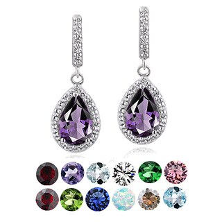 Glitzy Rocks Sterling Silver Birthstone Teardrop Dangle Earrings (Option: February)