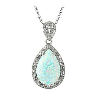 Glitzy Rocks Sterling Silver Birthstone Teardrop Pendant Necklace (More options available)