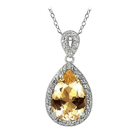 Glitzy Rocks Sterling Silver Birthstone Teardrop Pendant Necklace