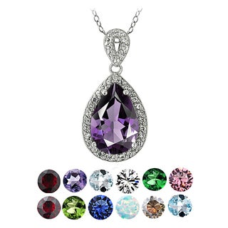 Link to Glitzy Rocks Sterling Silver Birthstone Teardrop Pendant Necklace Similar Items in Birthstone Jewelry