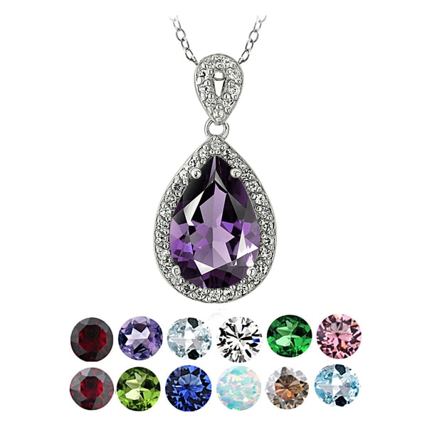 Glitzy Rocks Sterling Silver Birthstone Teardrop Pendant Necklace. Opens flyout.