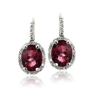 Glitzy Rocks Sterling Silver Oval Halo Birthstone Leverback Earrings (More options available)