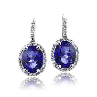 Glitzy Rocks Sterling Silver Oval Halo Birthstone Leverback Earrings (Option: September)|https://ak1.ostkcdn.com/images/products/10217295/P17339337.jpg?impolicy=medium