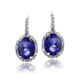 Glitzy Rocks Sterling Silver Oval Halo Birthstone Leverback Earrings (Option: February)