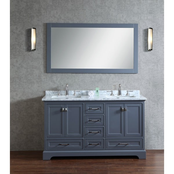 Stufurhome grey 60 inch double sink bathroom vanity set for Bathroom 60 inch double vanities