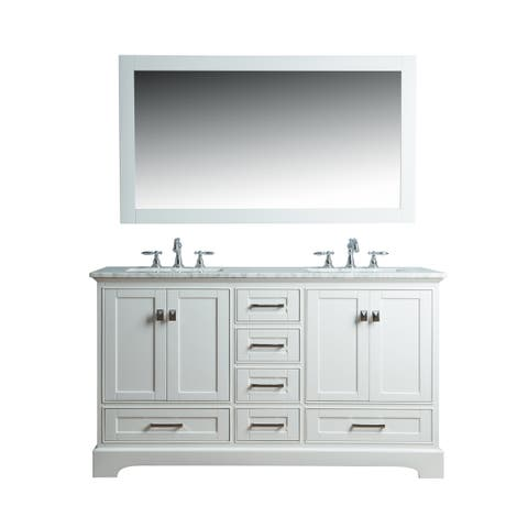 Stufurhome White 60-inch Double Sink Bathroom Vanity Set with Mirror