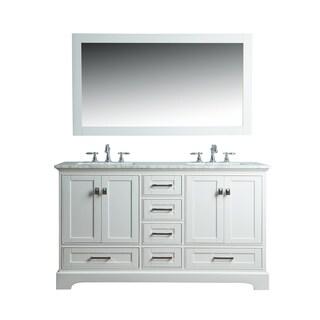 Stufurhome White 60-inch Double Sink Bathroom Vanity Set with Mirror