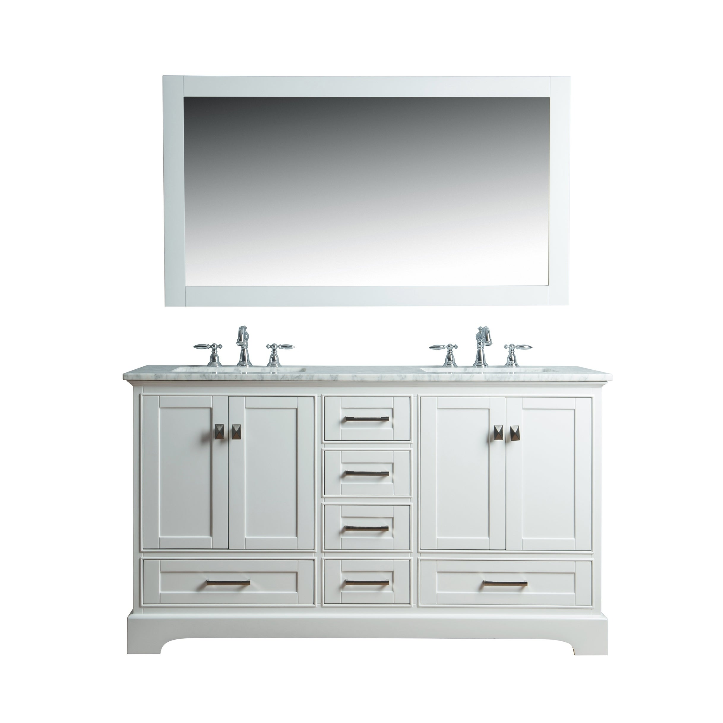 Shop Black Friday Deals On Stufurhome White 60 Inch Double Sink Bathroom Vanity Set With Mirror Overstock 10217328
