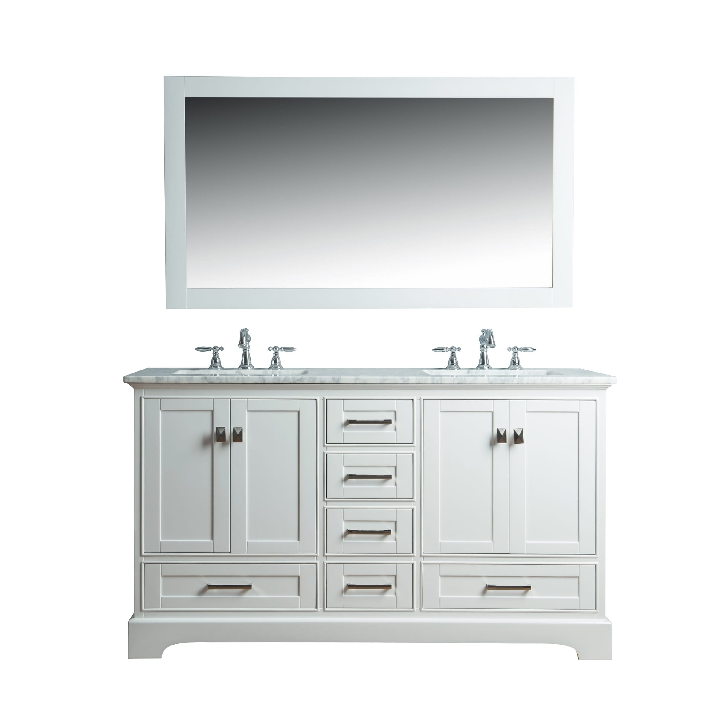 Stufurhome White 60 Inch Double Sink Bathroom Vanity Set With Mirror Overstock 10217328