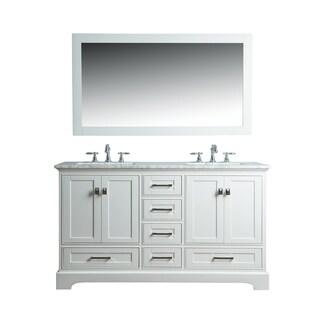 Link to Stufurhome White 60-inch Double Sink Bathroom Vanity Set with Mirror Similar Items in Bathroom Vanities