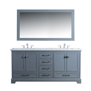 Stufurhome Newport Grey 72 in. Double Sink Bathroom Vanity with Mirror
