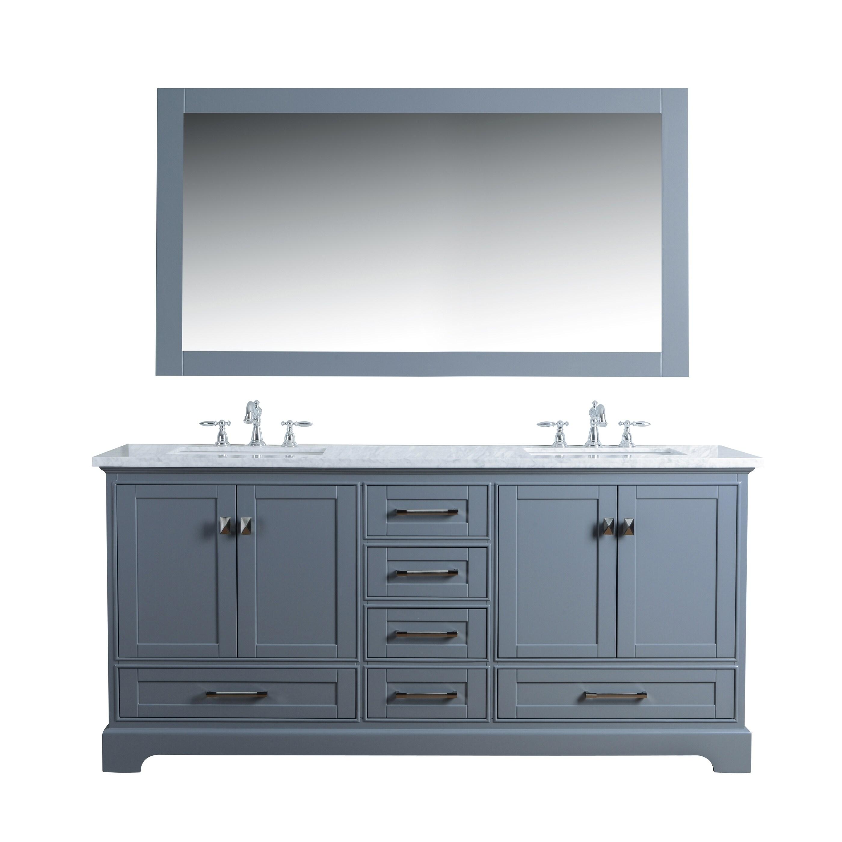 Grey 72 In Double Sink Bathroom Vanity