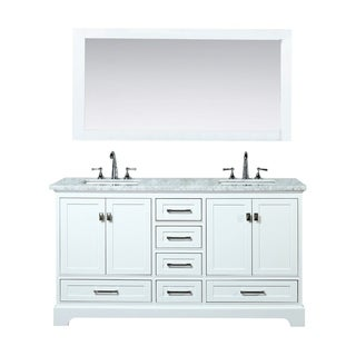 Stufurhome White 72-inch Double Sink Bathroom Vanity Set