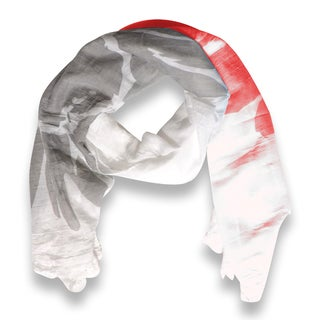 Peach Couture Abstract Coral Flower Printed Lightweight Dual Colored Scarf