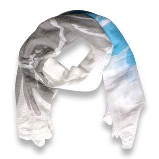 Peach Couture Abstract Aqua Flower Printed Lightweight Dual Colored Scarf