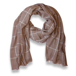 Peach Couture Tan Plaid Checkered Pattern Lightweight Eyelash Fringe Scarf