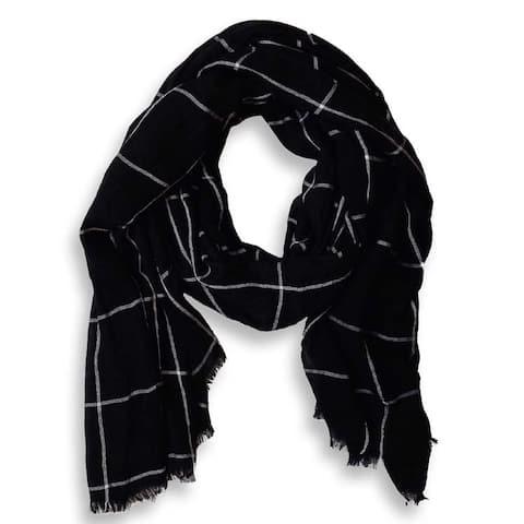 Peach Couture Black Plaid Checkered Pattern Lightweight Eyelash Fringe Scarf
