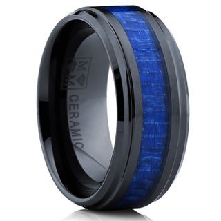 Oliveti Black Ceramic Ring Wedding Band with Blue Carbon Fiber Inlay (9 mm) (More options available)