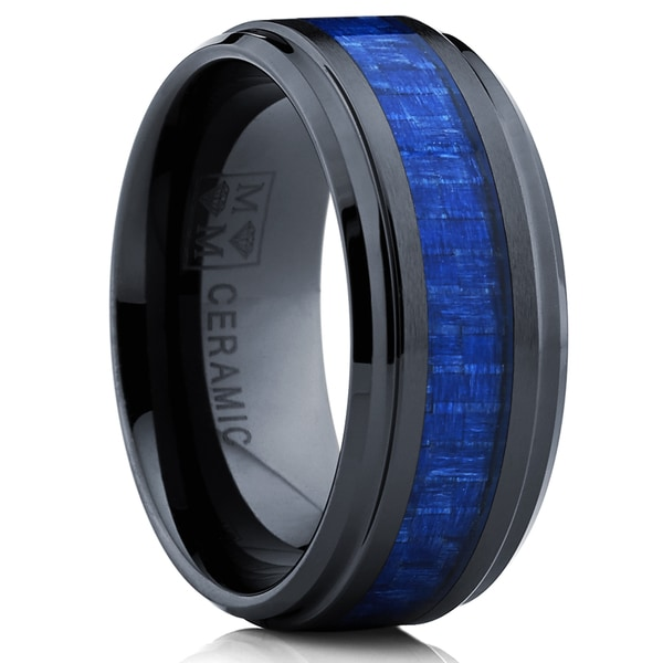 Oliveti Black Ceramic Ring Wedding Band with Blue Carbon Fiber Inlay (9 mm)