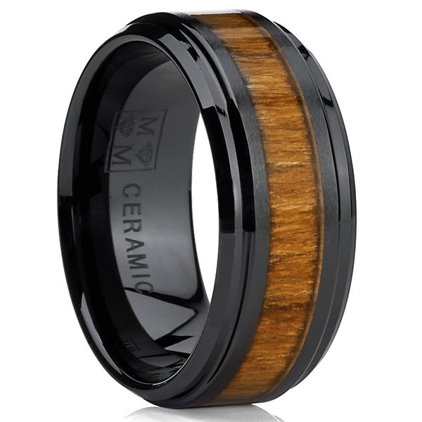 oliveti black ceramic ring wedding band with real koa wood inlay 9 mm - Ceramic Wedding Rings