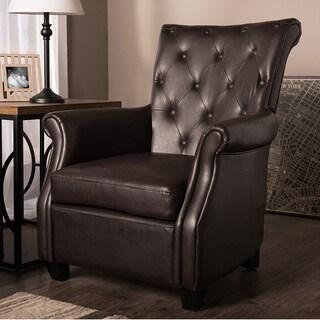 Baxton Sudio Donovan Transitional Matt Brown PU Leather Upholstered Button Tufted Club Chair/Arm Chair