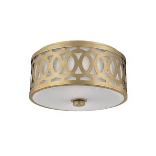 Hudson Valley Lighting Genesee 3-light Medium Flush Mount, Aged Brass