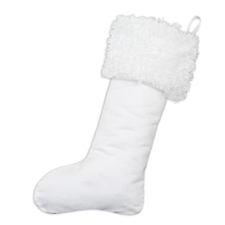 Magnum White with Lovely White Fur Ribbon Tab Christmas Stocking