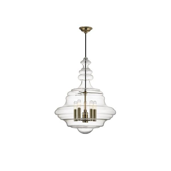 hudson valley lighting washington 5 light large pendant aged brass - Hudson Valley Lighting