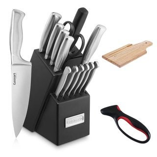 Cuisinart 15-piece Stainless Steel Hollow Handle Knife Block, Board, and Jokari Sharpener Set