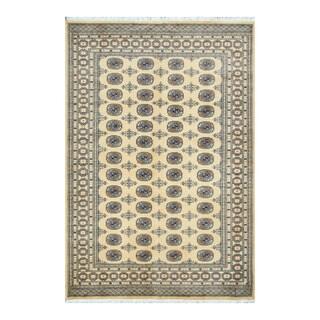 Herat Oriental Pakistani Hand-knotted Bokhara Light Gold/ Black Wool Rug (5'8 x 8'3)
