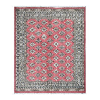 Herat Oriental Pakistani Hand-knotted Bokhara Red/ Beige Wool Rug (6'9 x 8'3)
