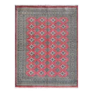 Herat Oriental Pakistani Hand-knotted Bokhara Salmon/ Beige Wool Rug (6'6 x 8'4)