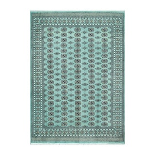 Herat Oriental Pakistani Hand-knotted Bokhara Teal/ Ivory Wool Rug (7'1 x 10')