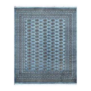 Herat Oriental Pakistani Hand-knotted Bokhara Blue/ Ivory Wool Rug (8'1 x 10'2)