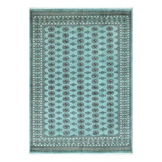 Herat Oriental Pakistani Hand-knotted Bokhara Teal/ Ivory Wool Rug (8'2 x 10')