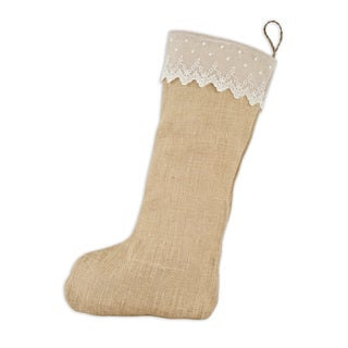 Burlap Natural with Lace Band Hemp Tab Christmas Stocking