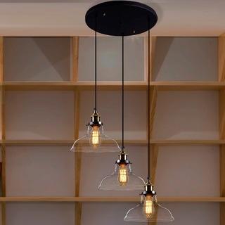 Esmeralda Adjustable Cord 3-light Clear Glass Edison Lamp