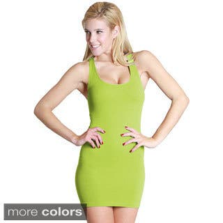 Nikibiki Women's Seamless Ribbed Color Racer Back Dress|https://ak1.ostkcdn.com/images/products/10217780/P17339797.jpg?impolicy=medium