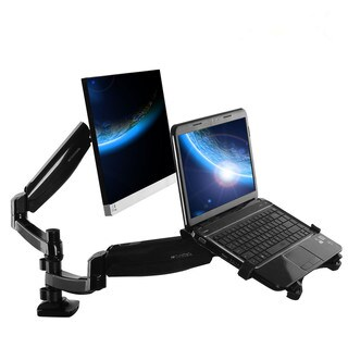 Loctek Dual-arm Desk Monitor and Laptop Mount with Gas Spring Arms