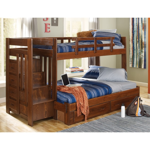 Woodcrest Heartland Twin/ Full Stairway Bunk Bed - Woodcrest Heartland Twin/ Full Stairway Bunk Bed - Free Shipping
