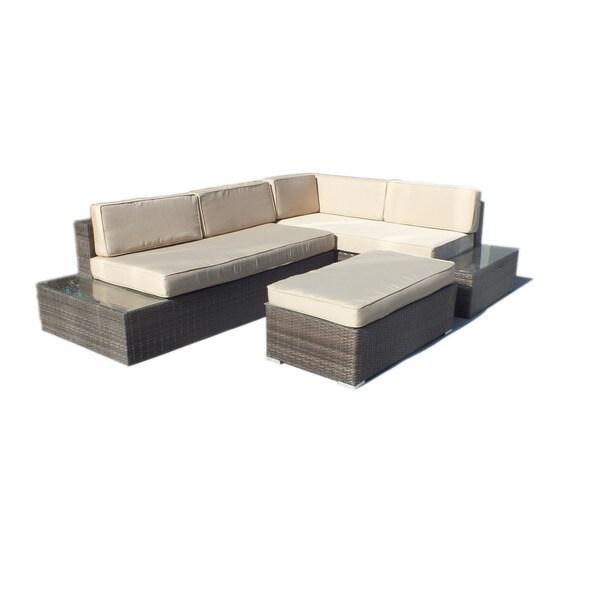 Manhattan Comfort Cambridge L Shaped Outdoor Sofa Patio Set