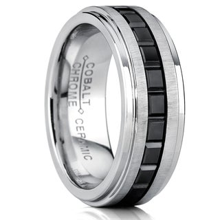 Oliveti Cobalt Men's Eternity Princess Black Ceramic Illusion Ring