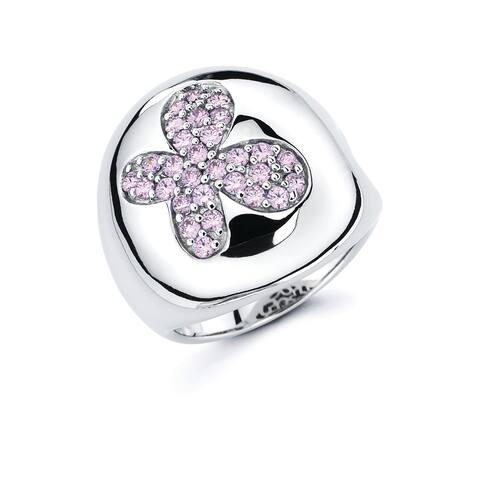 Lotopia 925 Sterling Silver Pink Swarovski Zirconia Bold Butterfly Ring