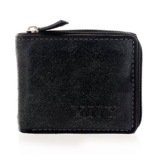 YNY Fashion Men's Leather Black Zip-around Wallet
