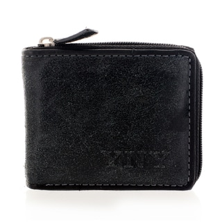 YNY Fashion Men's Leather Black Zip-around Wallet
