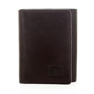 YL Fashion Men's Leather Brown Tri-fold Wallet