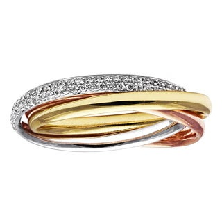 Beverly Hills Charm 14k Tri-Color Gold 2/5ct TDW Diamond Rolling Trinity Eternity Ring (H-I, SI2-I1)