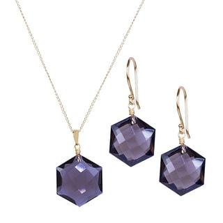 14k Yellow Gold Smoky Quartz Hexagon Necklace and Earrings Set